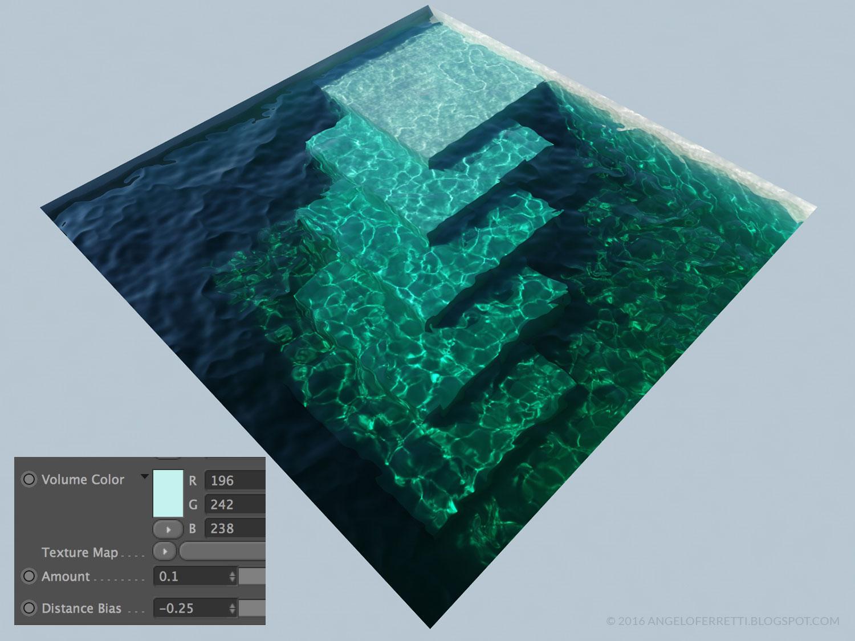 acqua e caustiche con Cinema 4D e Vray