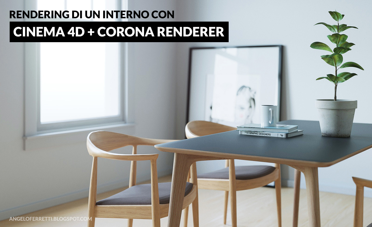 Rendering di un interno con cinema 4d corona renderer angelo