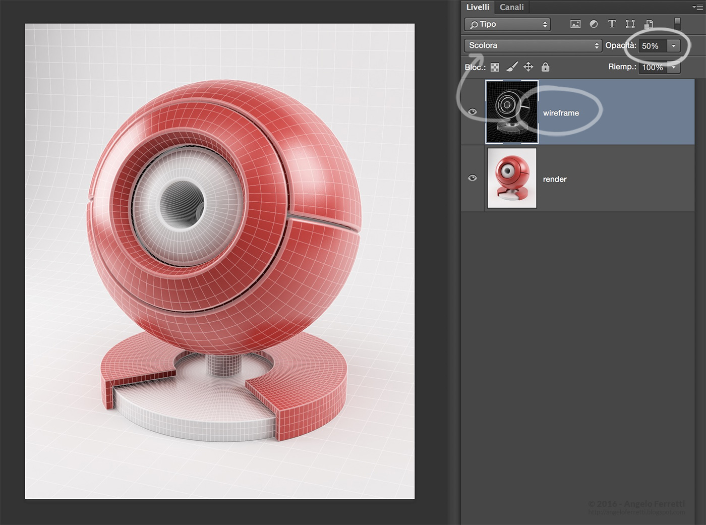 tutorial wireframe con Cinema 4D e Vray